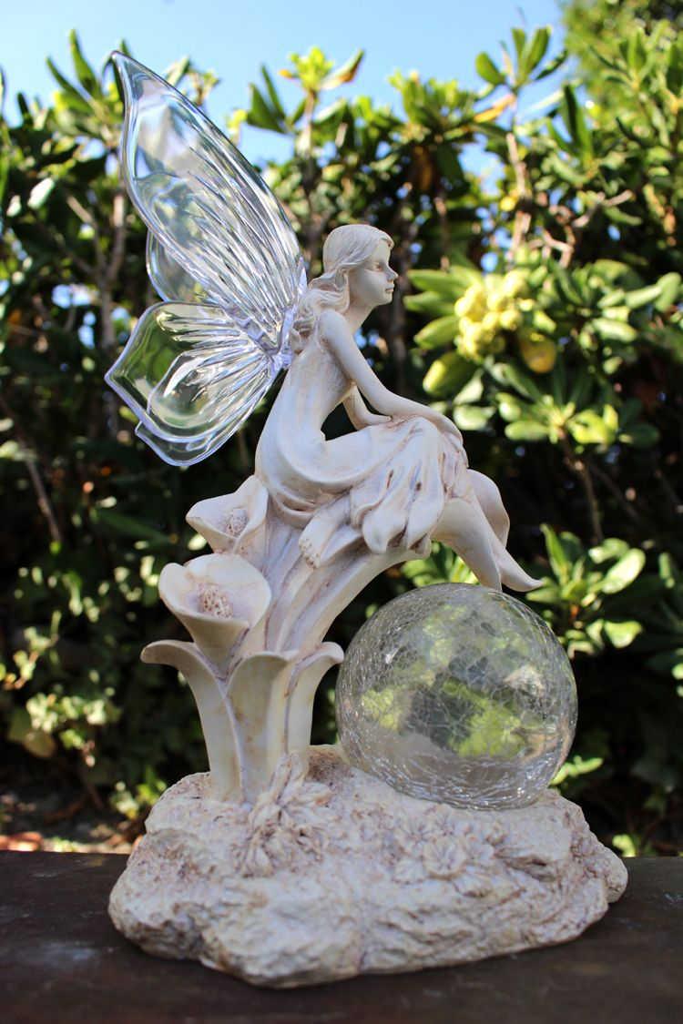 Fairy Solar Light Statue Crackle Glass Solar Globe And Calla Lilies Solar Fairy Lights Solar Garden Decor Solar Lights
