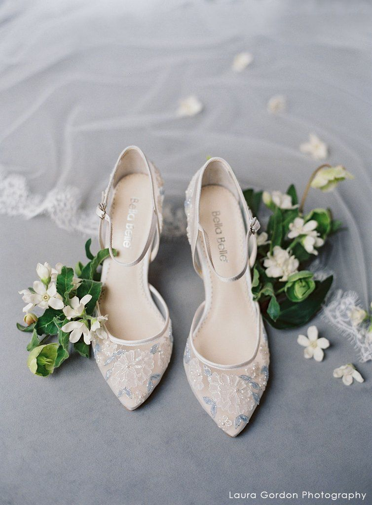Baby Blue Floral Lace Ivory Wedding Heel Wedding Shoes Heels