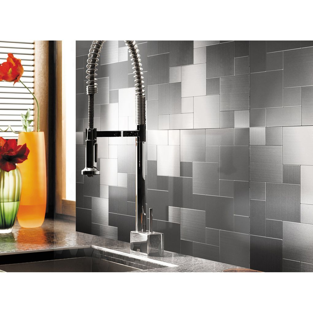 Peel and stick metal mosiac sheets for backsplash in x in