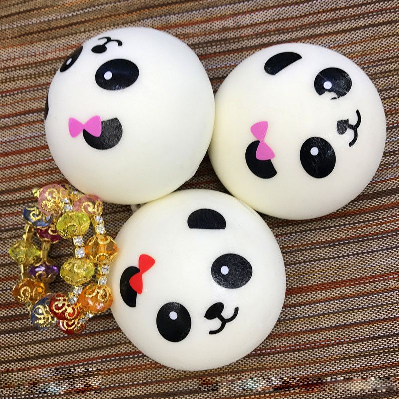1pc Panda Squishy Kawaii Buns Bread Charms Fun Toy For Tricky Toy slow rising squeeze toy with ...