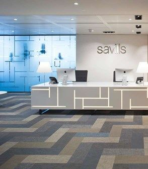 Floor Pattern In Blue Beige And Gray Using Bolon Planks The Office Of Savills London UK