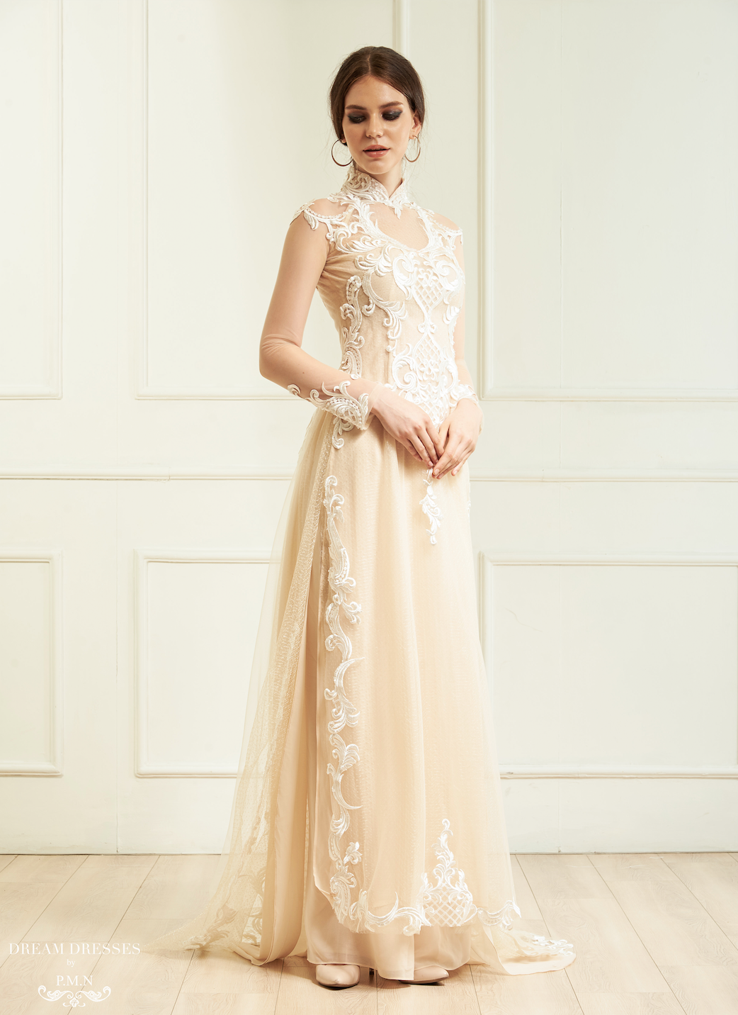 Champagne Ao Dai Vietnamese Lace Bridal Dress (CIARA