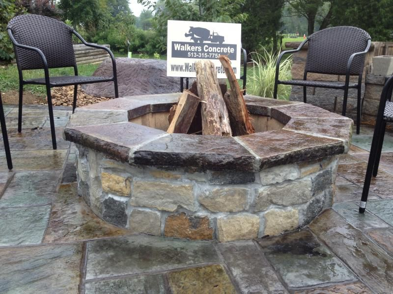 stamped concrete patios with fire pit - Google Search | stamped ...