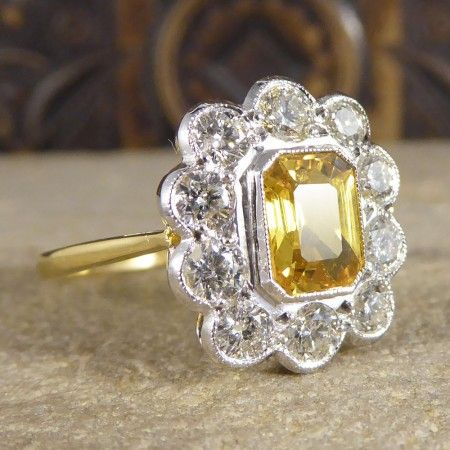 0d8e1b9ef9e15 Image result for yellow sapphire diamond ring vintage | Gems ...