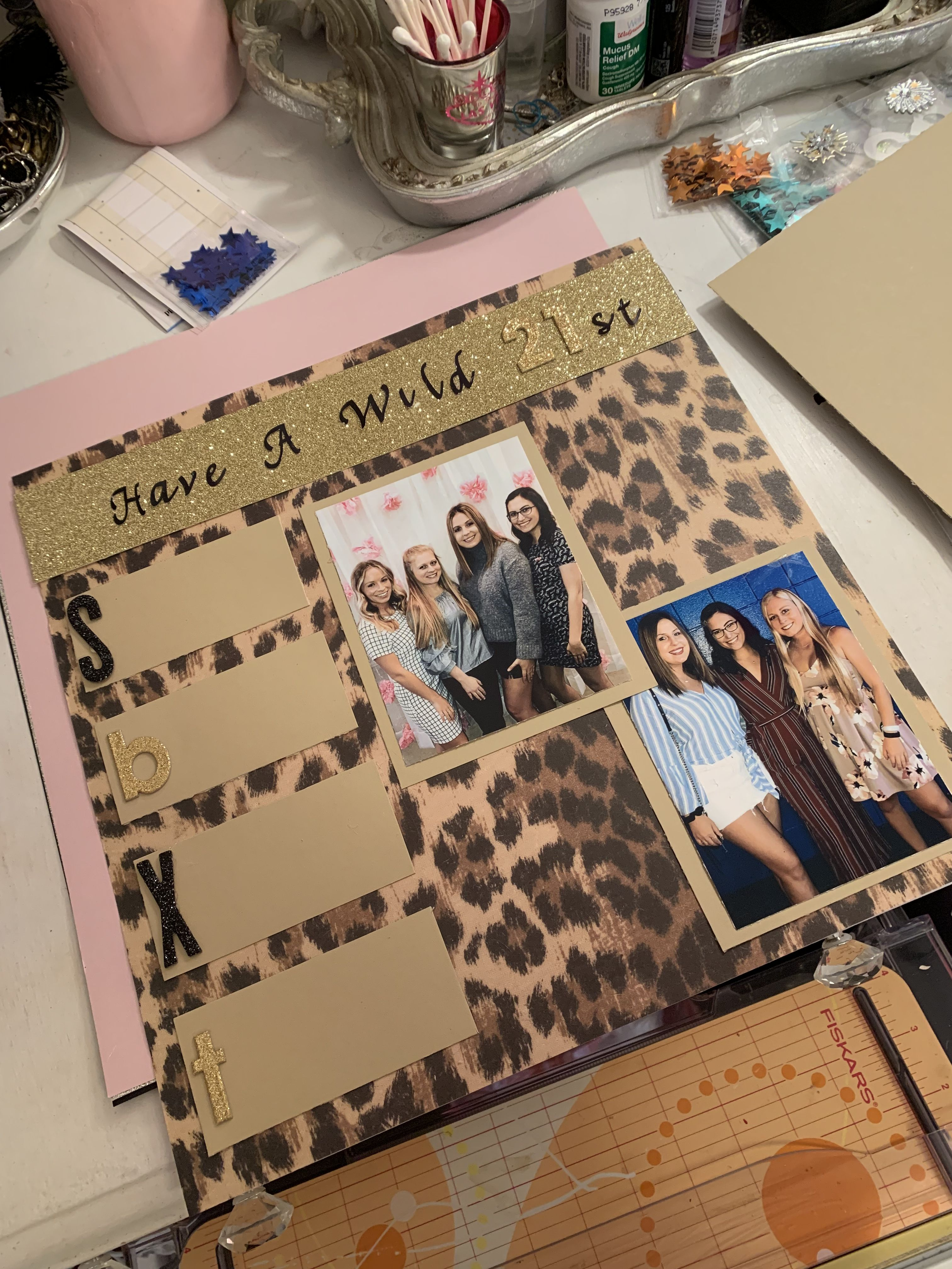 "Cheetah print ""let's get wild"" shot book page  #21stbirthdaysigns"