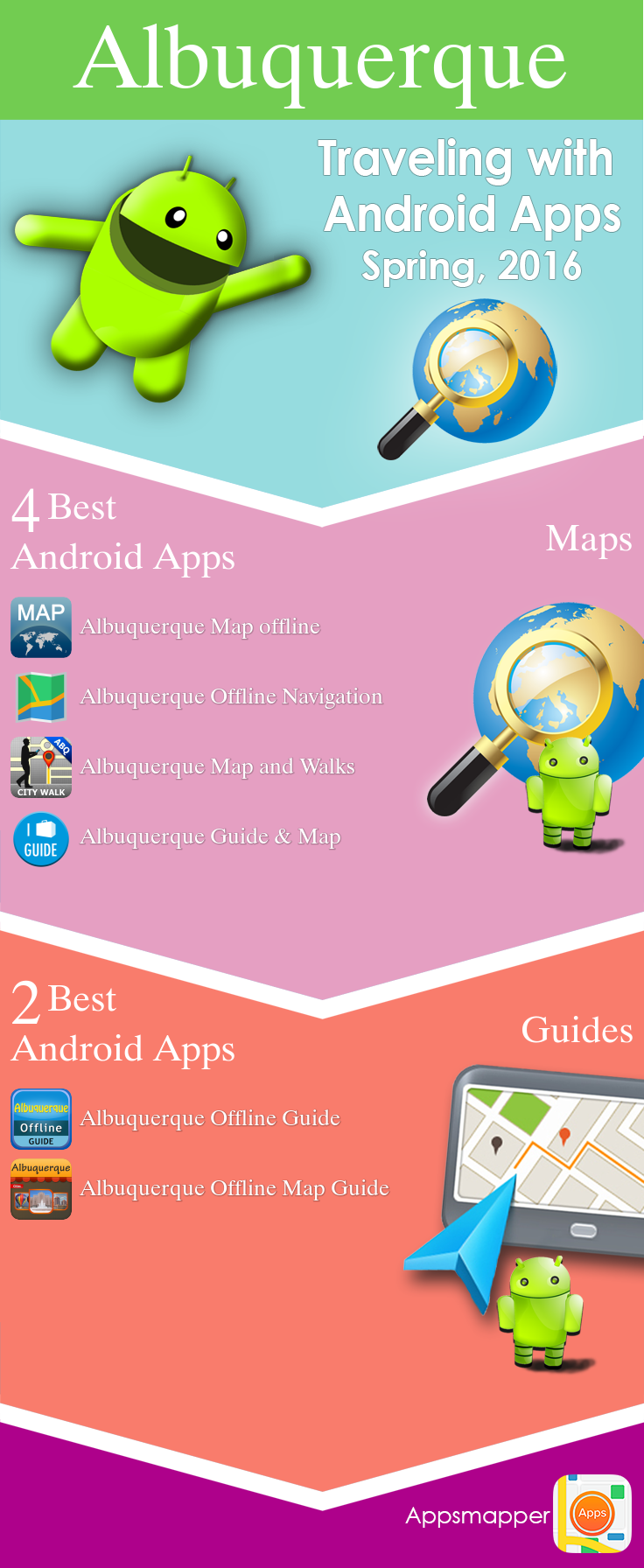 Albuquerque Android apps: Travel Guides, Maps, Transportation, Biking, Museums, Parking, Sport and apps for Students.