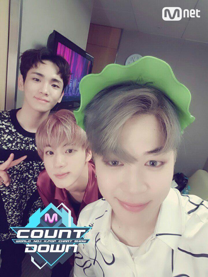 Jin, Jimin and Key Selfie ❤ Seokmin are the MCs today with Key on MCOUNTDOWN #BTS #방탄소년단