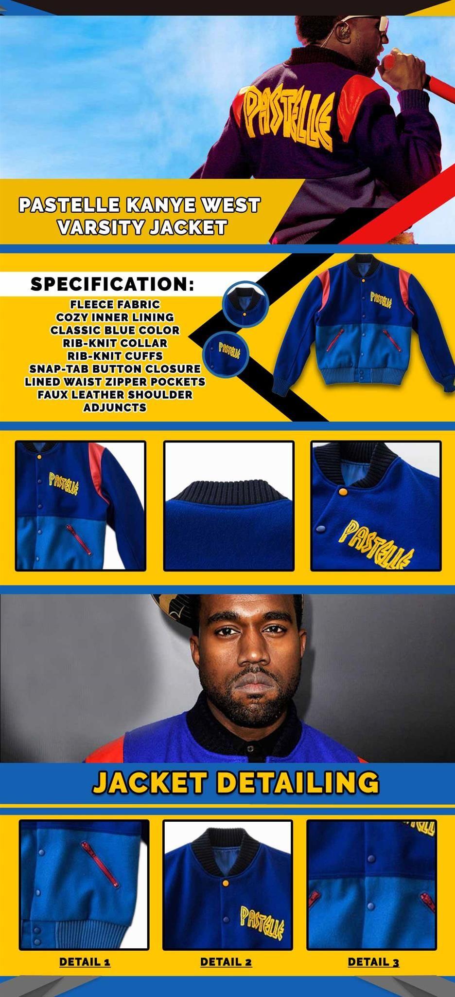 Kanye West Pastelle Varsity Jacket Kanye West Varsity Jacket Varsity Jacket Men