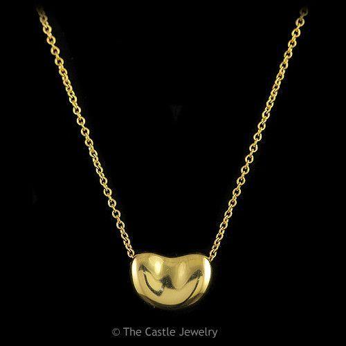 "1de32c9a7b07c Authentic Tiffany & Co. Elsa Peretti Bean 16"" Necklace in 18K Solid ..."