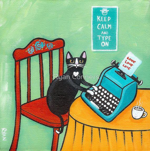 Une Note de la Cat - Typewriter Folk Art