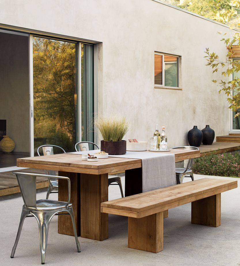 Slab Table Bench And Tolix Chairs Outdoor Patio Table