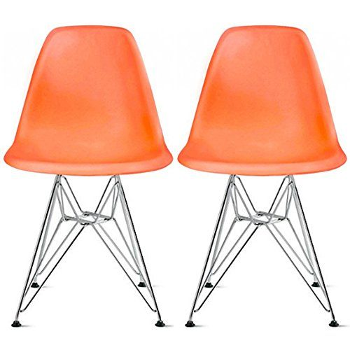 Delightful 2xhome   Set Of Two(2) Orange   Eames Style Side Chair Chrome Wire