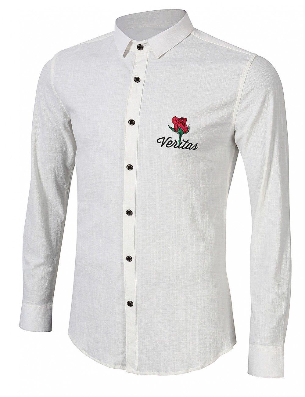 Yesfashion menus fashion rose embroidery long sleeve shirt