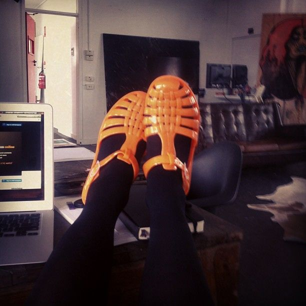 birght orange jelly shoes