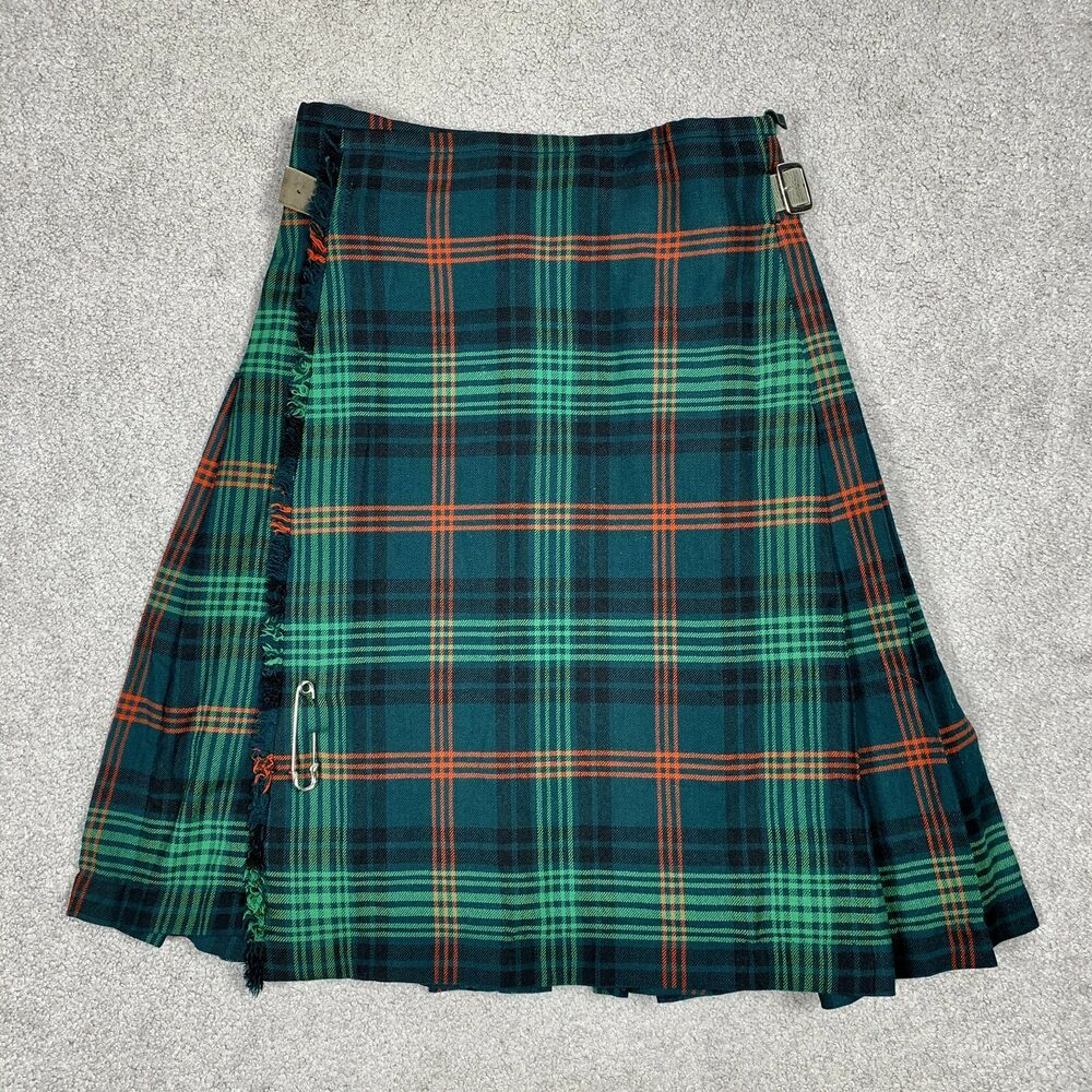 Vintage 60s The Scottish House Tartan Plaid Kilt Green