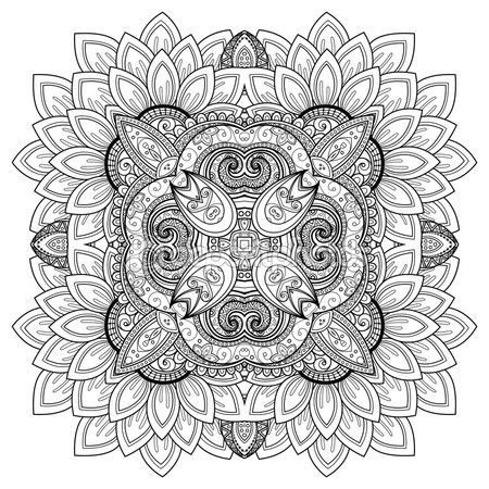 Mandala adorno contornos monocromo — Vector de stock | colors ...
