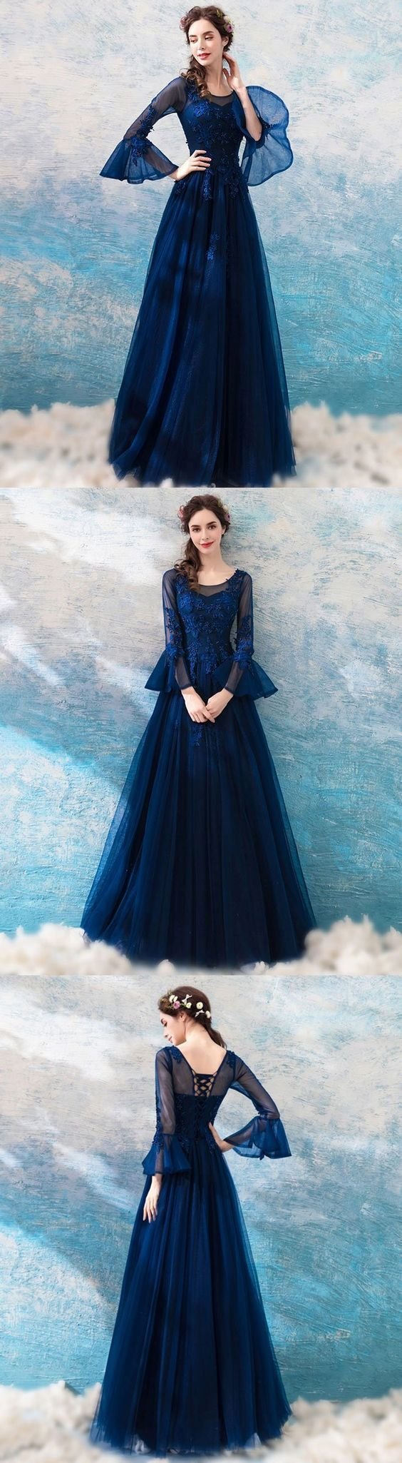 Blue round neck lace tulle long prom dress lace evening dress