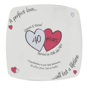 Personalised Ruby 40th Wedding Anniversary Plate