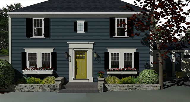 James Hardie Evening Blue Siding Existing Glass Bricks In Small Window Over Entrance By Jennyology Via Flickr Blue Siding Siding Options Siding Colors