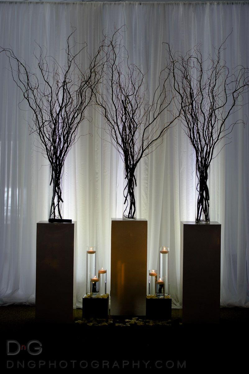 Winter themed willows and candles.