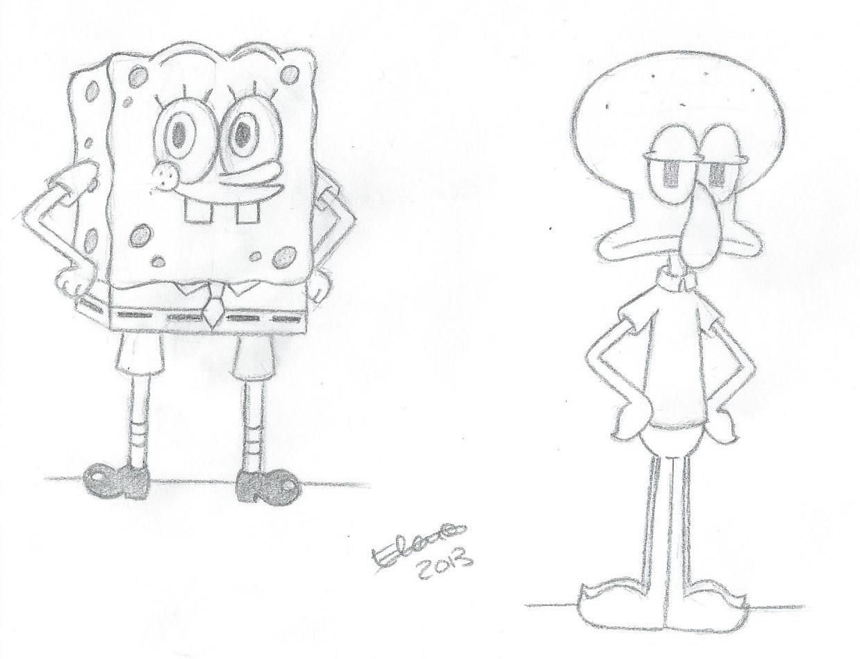 Uncategorized Sketch Of Spongebob sketch di spongebob e squiddi by elena0803 deviantart com on deviantart