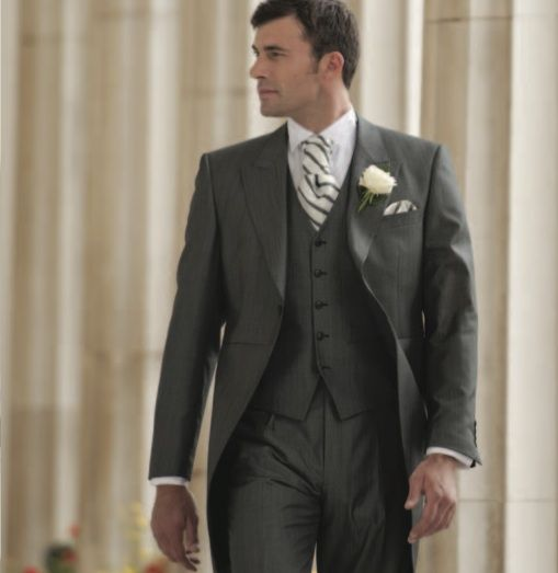 Silk grey tailcoat suit with waistcoat. | Wedding suits ...