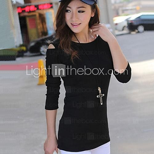 Women's Sexy Strapless Long-sleeved Round Neck Shirt - USD $9.99