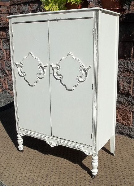 Shabby Cottage Repurpose CHIC ARMOIRE TV Stand Cupboard