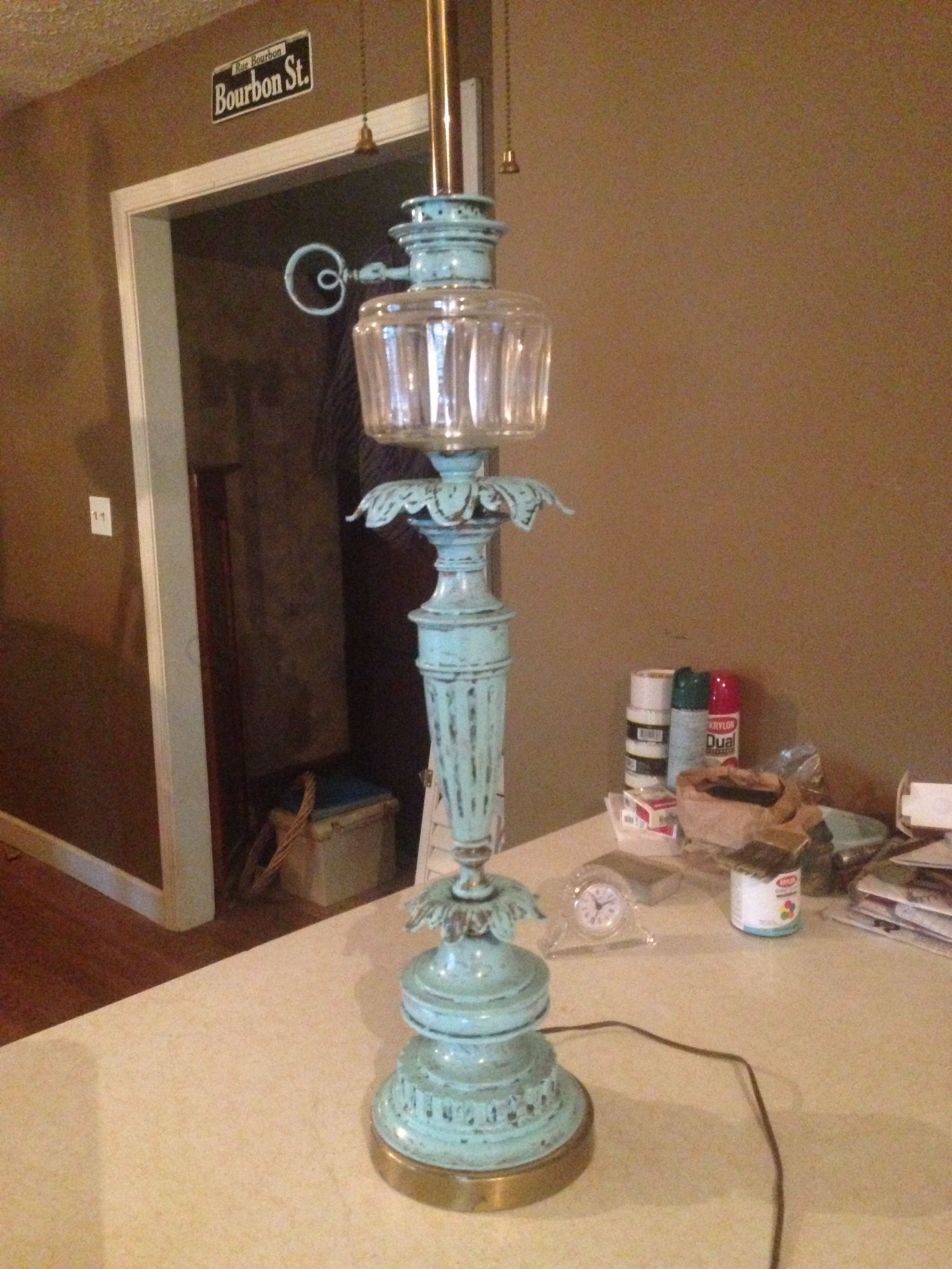 Old Brass Lamp Made New With Antiquing Brass Lamp Old Lamp Shades Distressing Chalk Paint