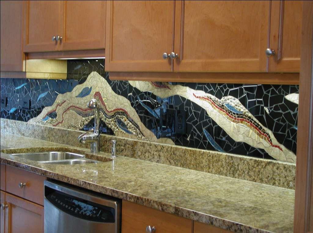Colorful mosaic kitchen backsplash ideas with brown kitchen cabinet