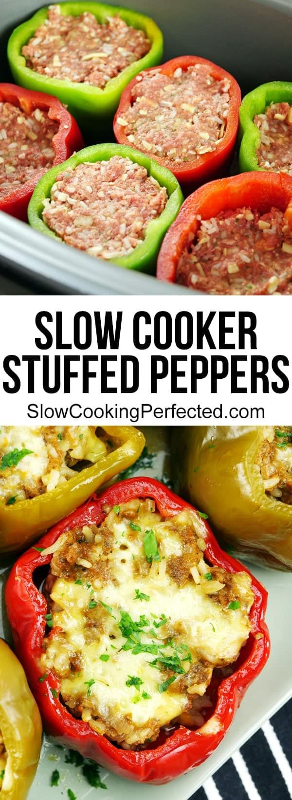 Flavor-Packed Slow Cooker Stuffed Peppers #crockpotchickeneasy