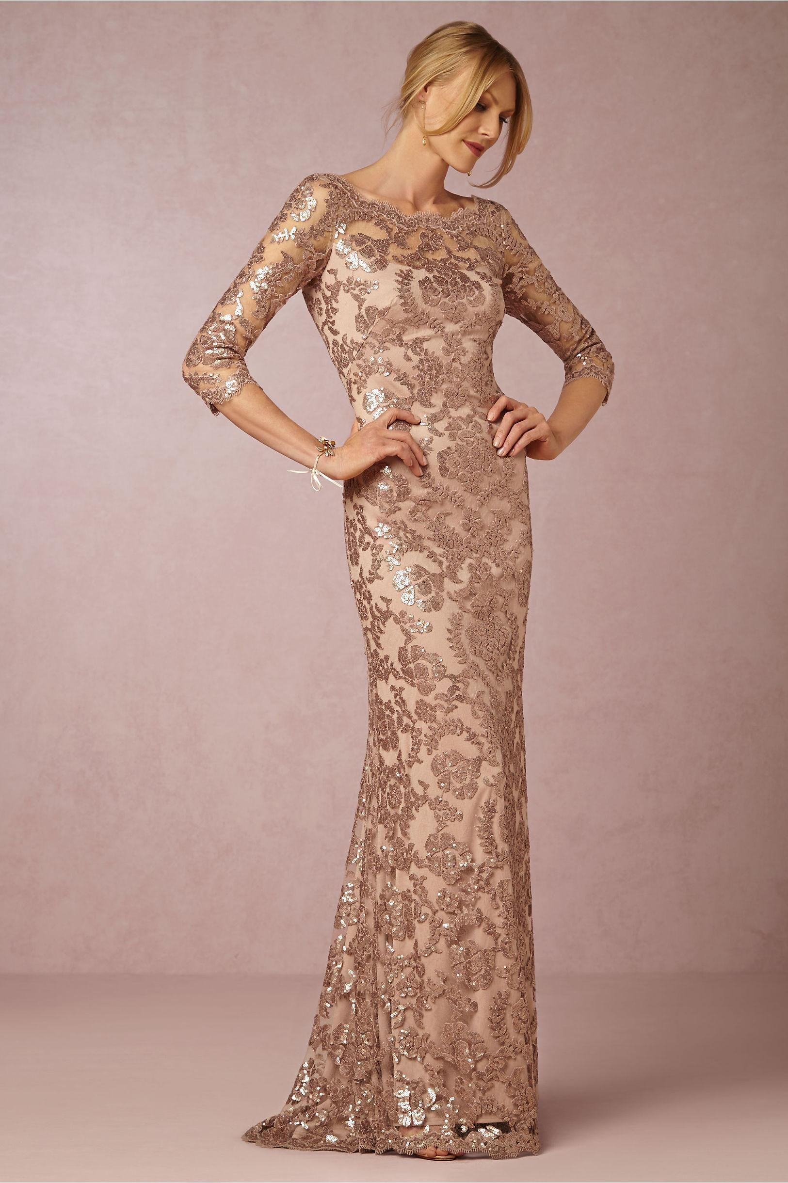 Long Sleeve Rose Gold Mother Of The Bride Dresses Bateau Neck