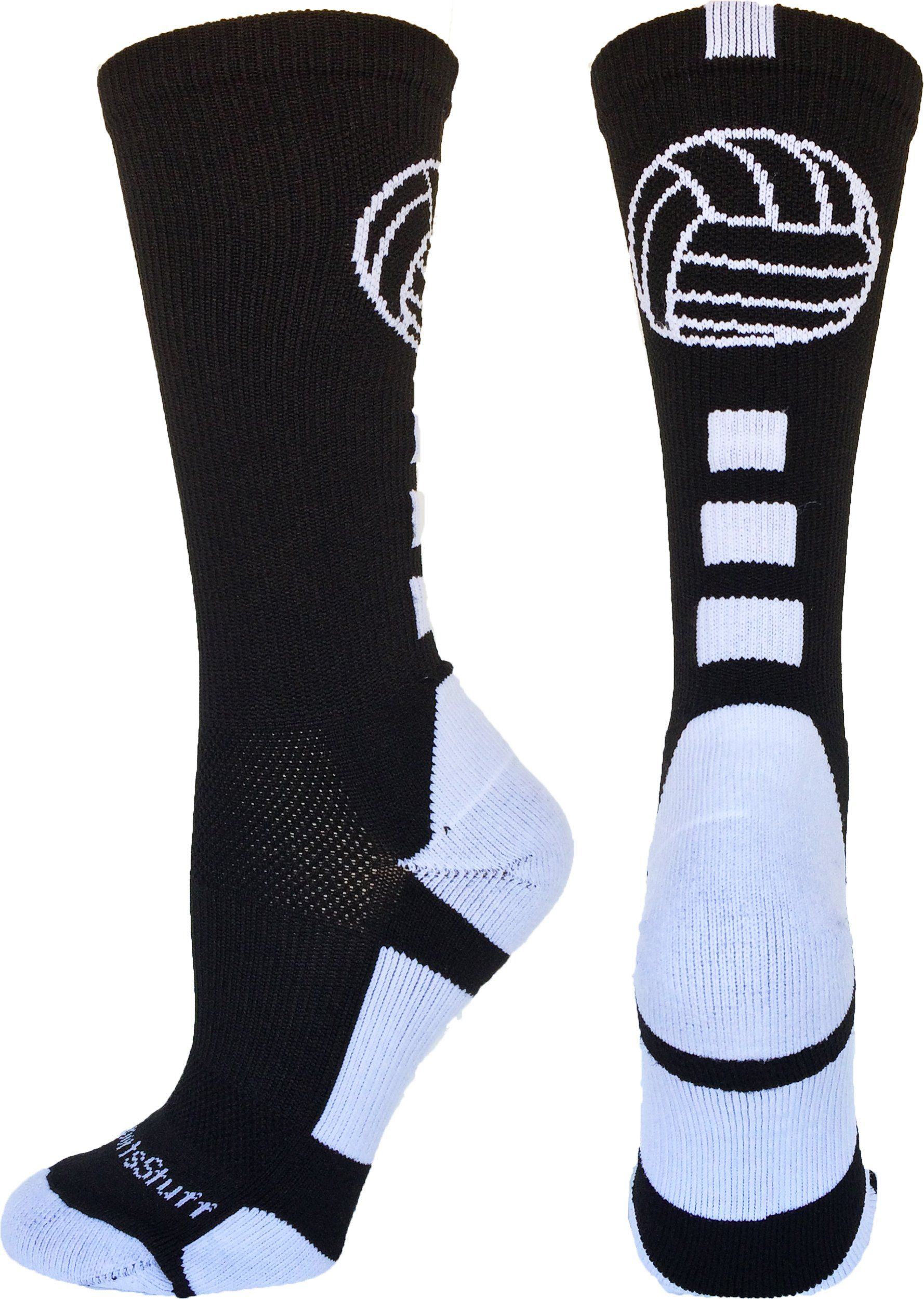 Volleyball Logo Crew Socks Black White Small Volleyball Socks Volleyball Outfits Sport Socks
