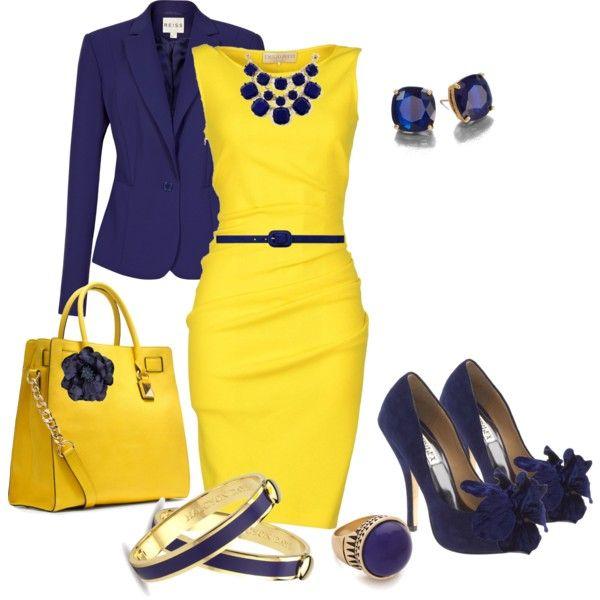 Vestido azul y amarillo
