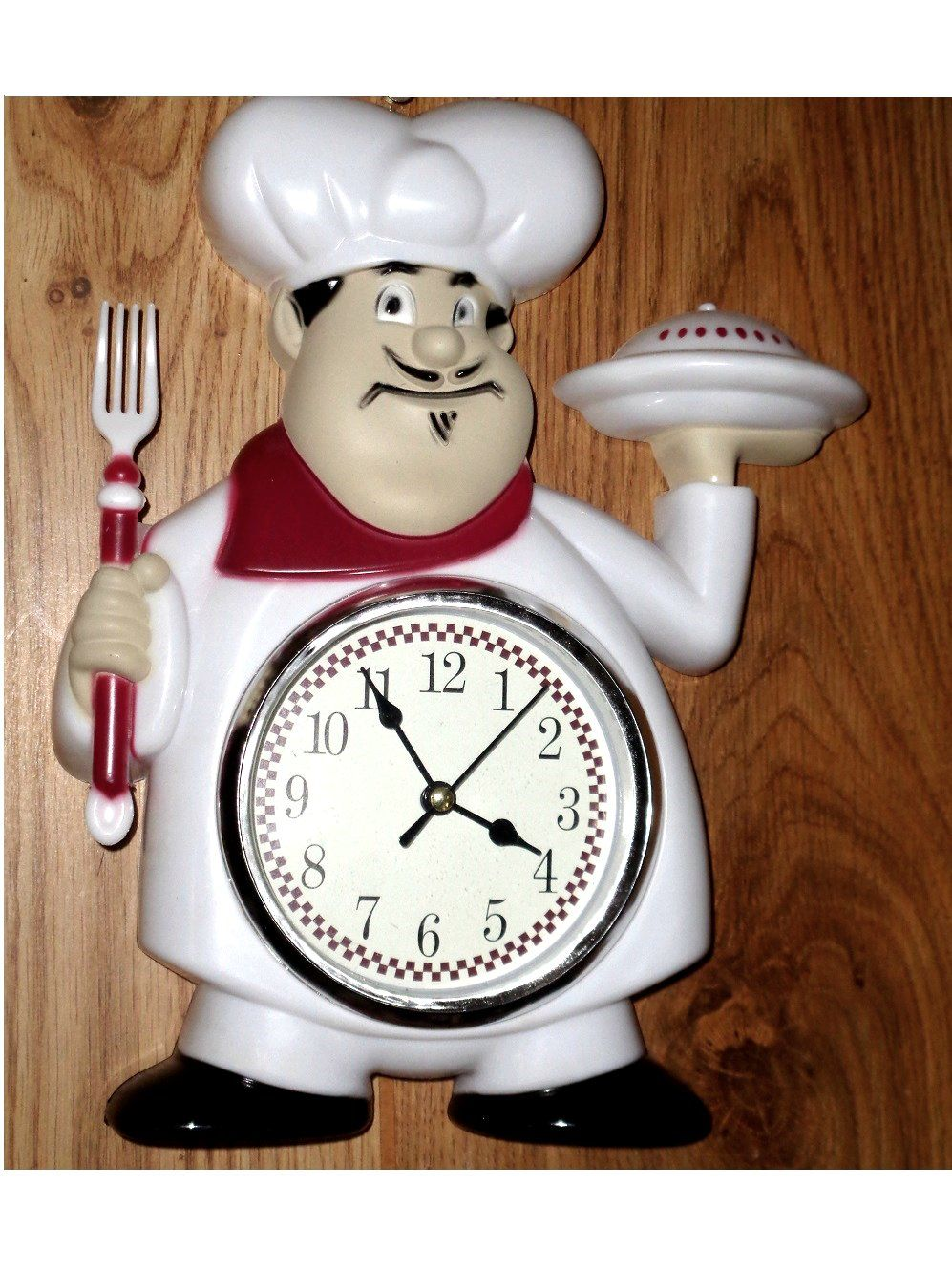 Fat Italian Chef Kitchen Wall Clock Red White $21.95 | Fat Chefs ...
