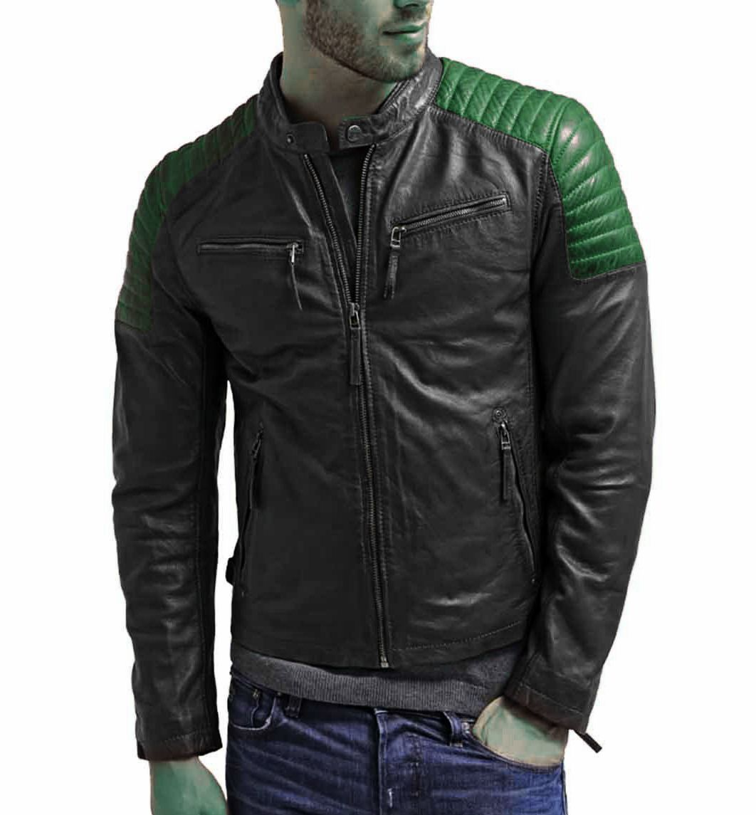 Handmade Black With Green Quilted,Zipper Style Premium Leather Men Racer Jacket