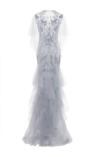 Tulle Gown With Tiered Ruffle Skirt by MARCHESA for Preorder on Moda Operandi