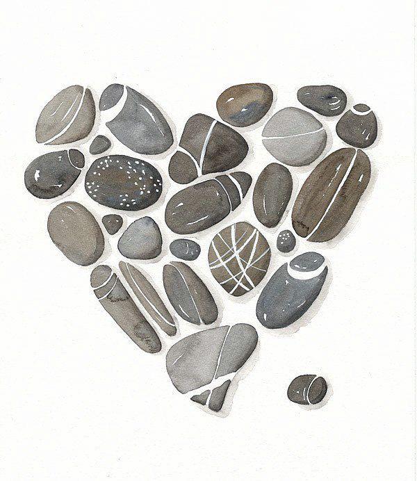 Pebbles No.22 Watercolor Art Print Limited Edition от lorisworld