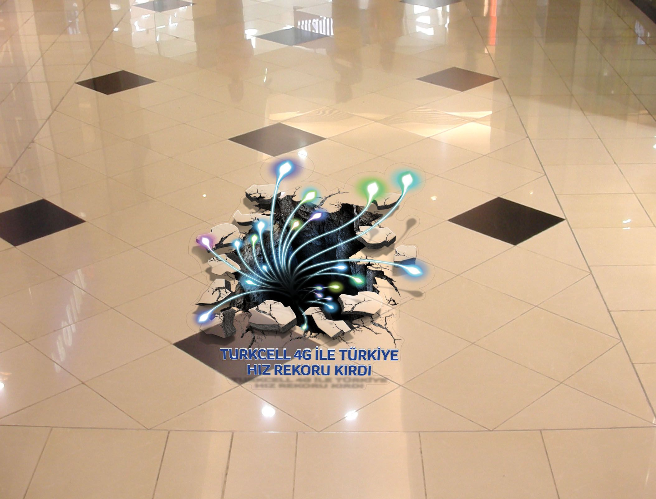 This 3d floor graphic was designed and installed across for Floor stickers
