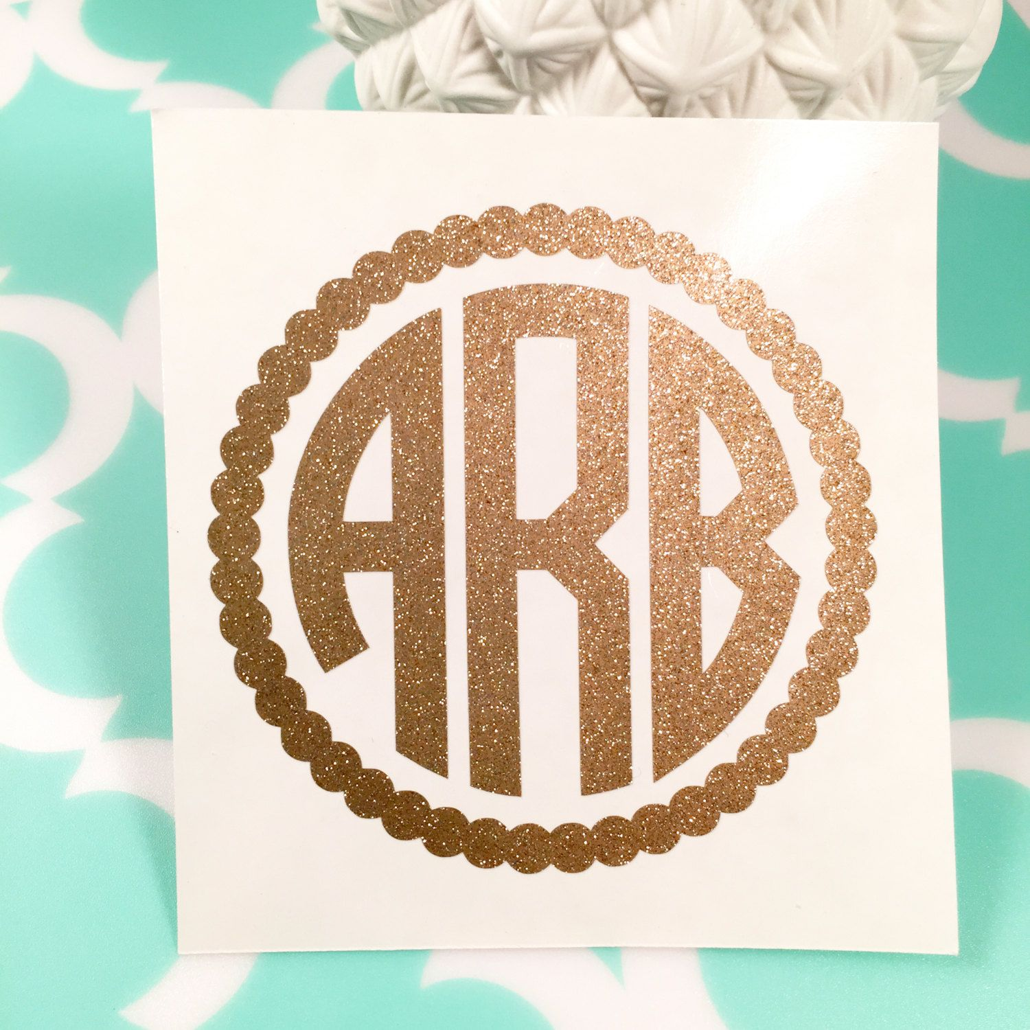 Glitter Personalized Circle Monogram DecalSticker Car Decal - Monogram car decal sticker