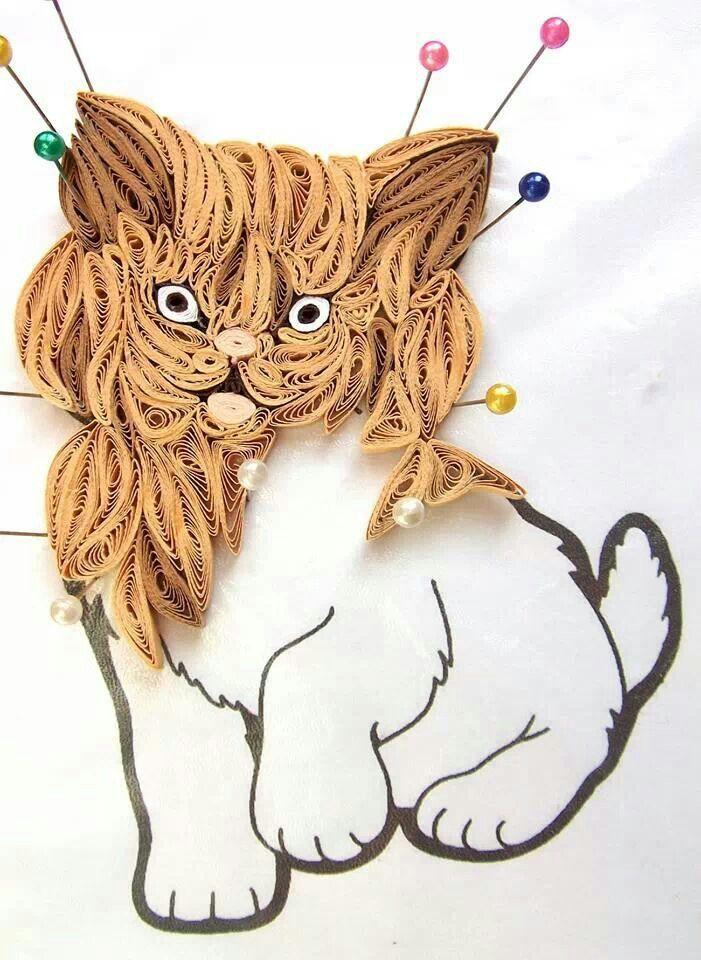 Открытка февраля, квиллинг картинки коты