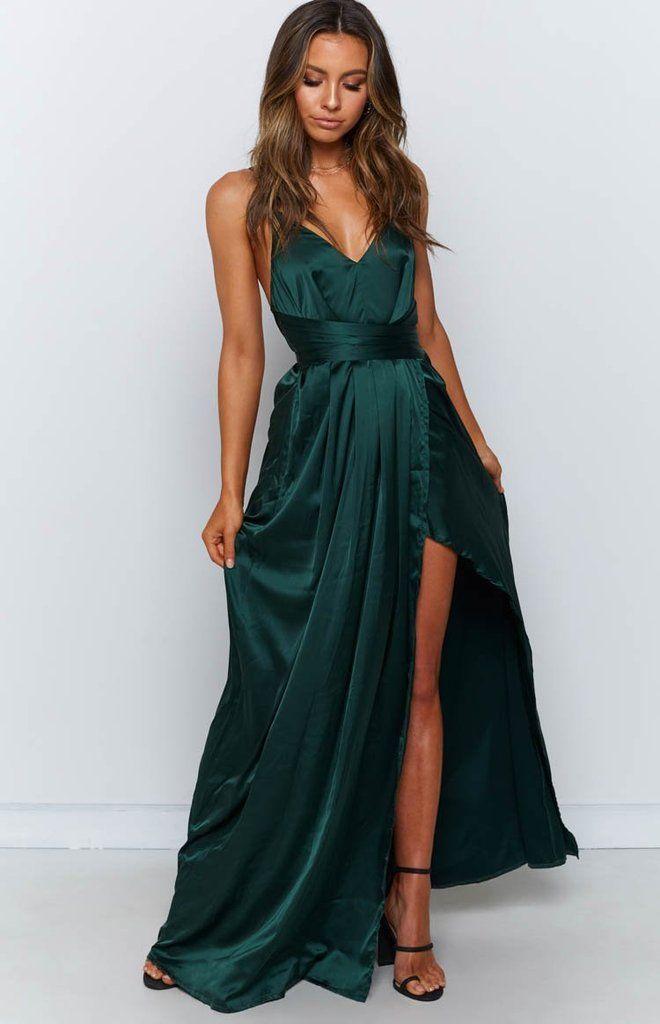 Katrina Split Maxi Dress Green