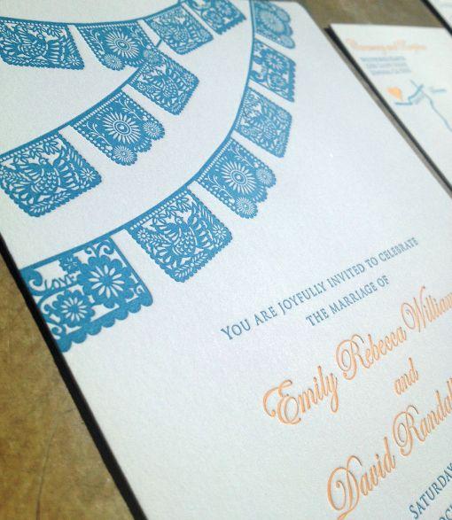 Papel Picado Wedding Invitation Suite Custom Design Printed Letterpress
