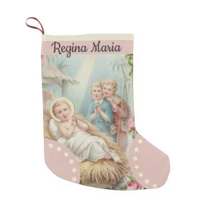 Personalized baby jesus in manger girls small christmas stocking personalized baby jesus in manger girls large christmas stocking christmas stockings merry xmas cyo family gifts presents negle Image collections