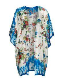 Johnny Was Allover-Print Kimono aus reiner Seide in Creme / Bunt