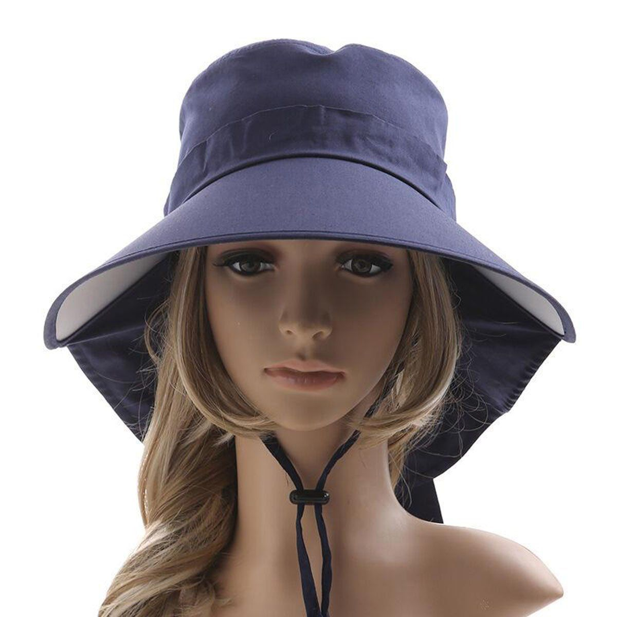 Ls Lady Womens Summer Flap Cover Cap Cotton Anti-UV UPF 50+ Sun Shade Hat  With Bow. Adjustable Hat (One Size 55713cfc40