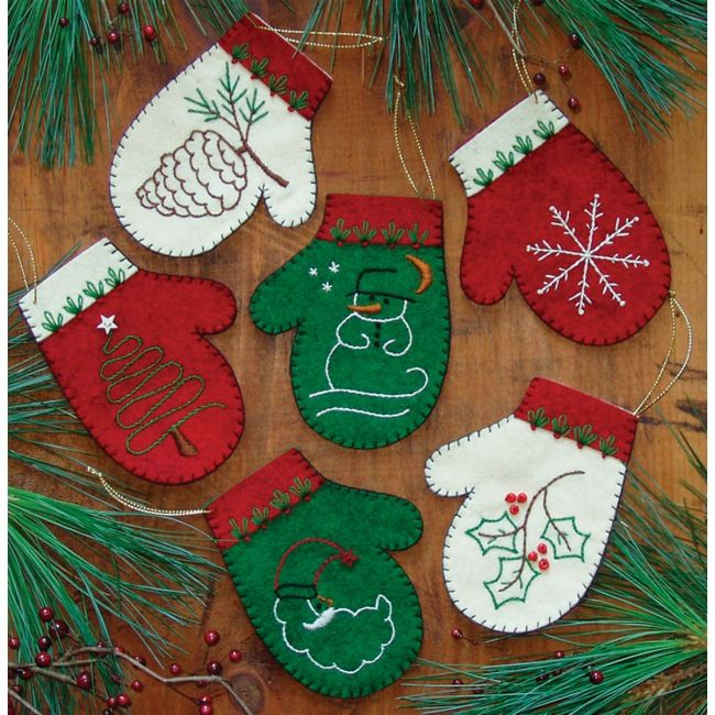 mittens ornaments felt embroidery kit rachels ornament kits at weekend kits - Christmas Decoration Kits