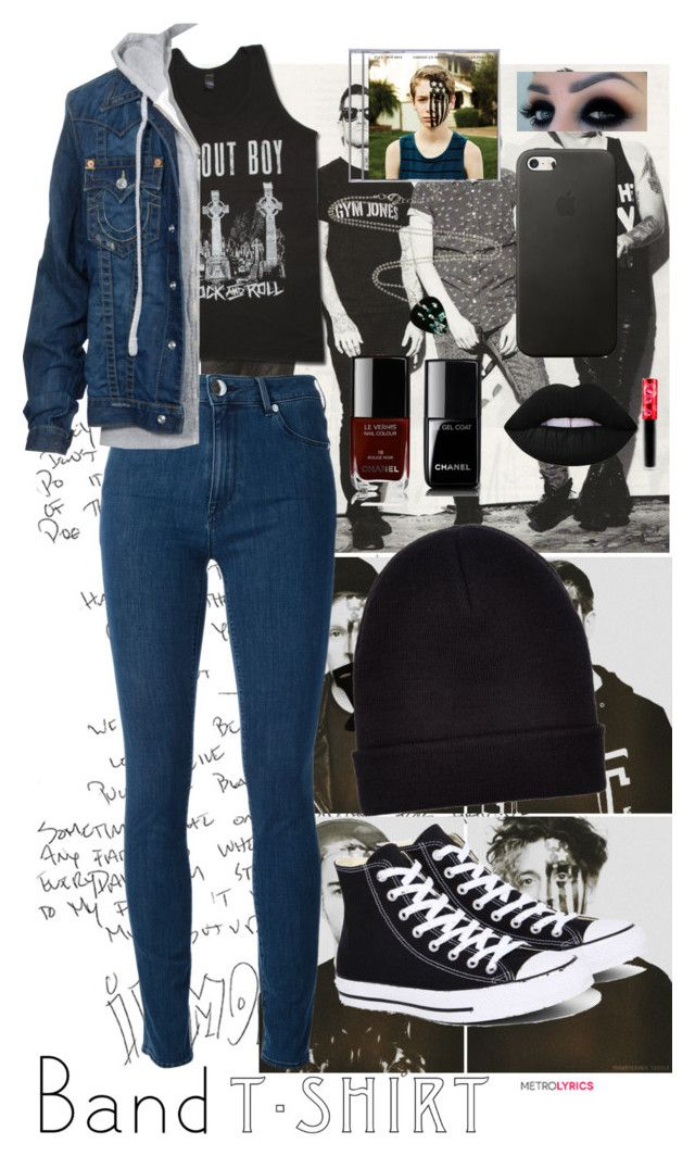 """I'm With The Band 😁"" by collettechoquette ❤ liked on Polyvore featuring Love Moschino, Hot Topic, True Religion, Converse, Lime Crime, Chanel, Ray-Ban, New Look, bandtshirt and bandtee"