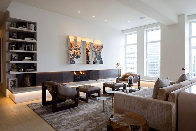 Wohnzimmer einrichten -beige-weiss-gaskamin-wand-regale Wohnideen