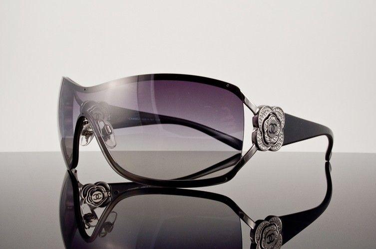 f1d6570003 Chanel Swarovski Crystal Camellia CC Shield Sunglasses  4164B Yes ...
